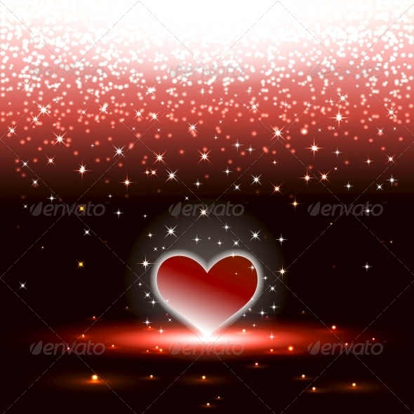 GraphicRiver Heart with Sparkles Raining 5511765