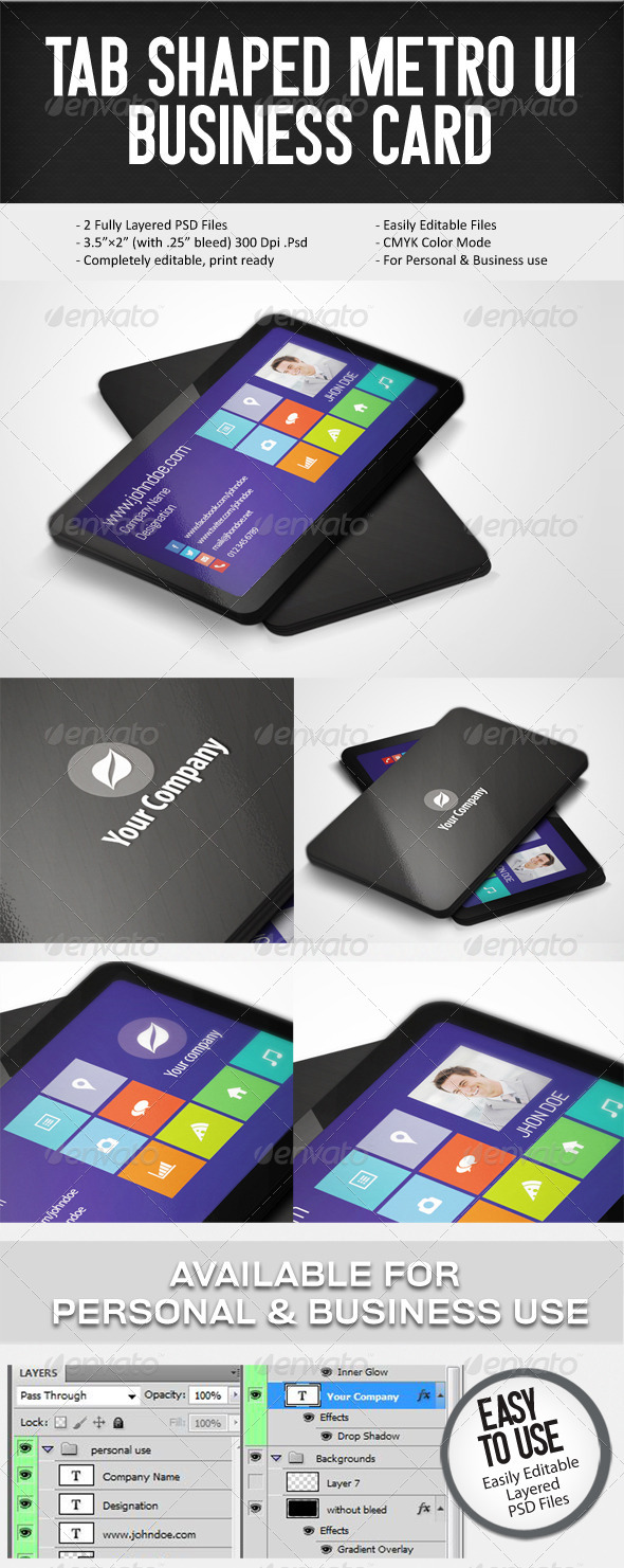 GraphicRiver Tab Shaped Metro UI Buisness Card 5511983