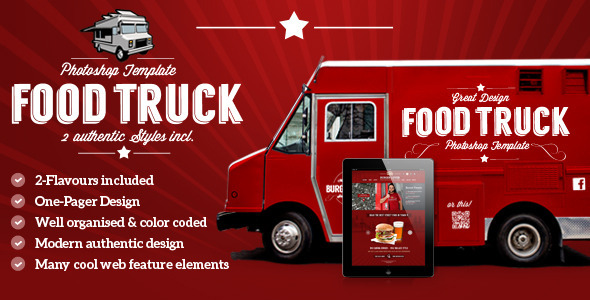 ThemeForest Food Truck & Restaurant PSD Template 5489699