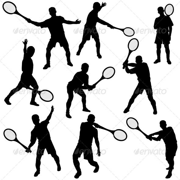 GraphicRiver Tennis Silhouette Set 5512185