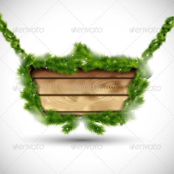 Wooden Board with Fir Branches