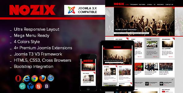 NOO Nozix - Joomla 3 Music Responsive Template