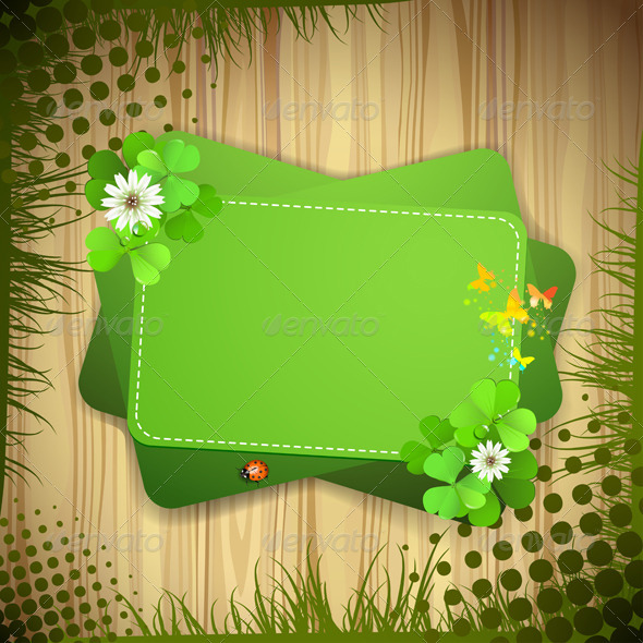 GraphicRiver Green Background with Clover 5512618