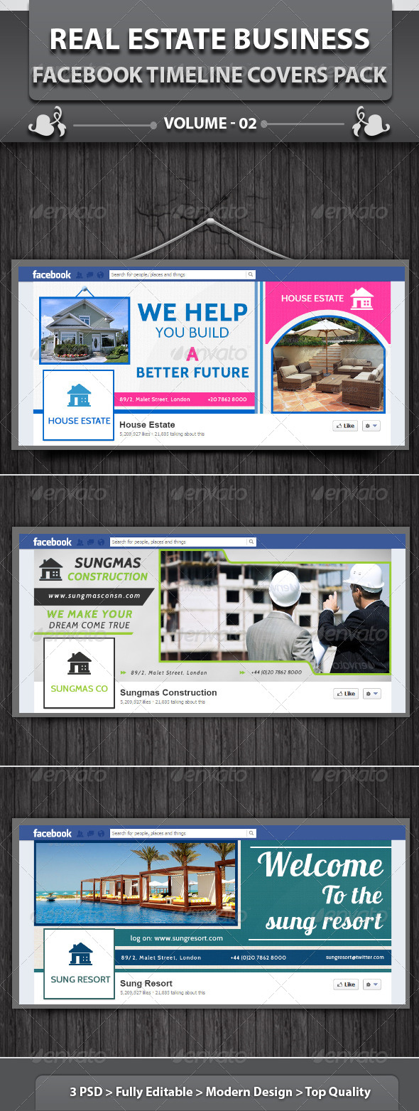 GraphicRiver Real Estate Business FB Timeline Covers Pack v2 5513379