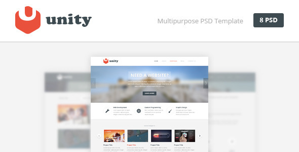 What is Unity? Unity is a multipurpose PSD template consisted with 8 PSD files. All layers are organized properly, so it takes you a moment to find necessary la
