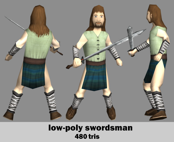 Low Poly Swordsman - 3DOcean Item for Sale