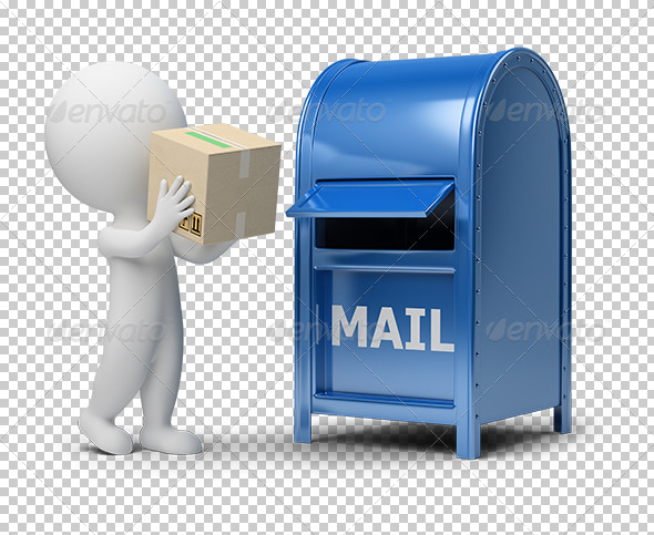 GraphicRiver 3D small people mailing a package 5514983