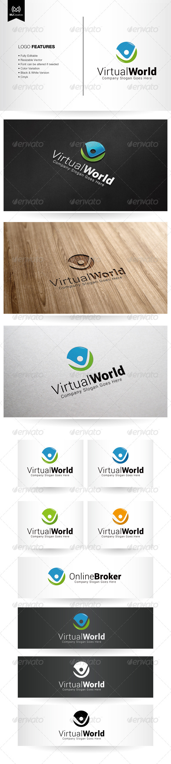 GraphicRiver Tick Virtual And Letter V logo 5515088