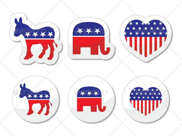 GraphicRiver USA Political Symbols of Democrats and Repbublicans 5515313