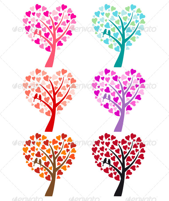 GraphicRiver Heart Tree with Birds 5515337