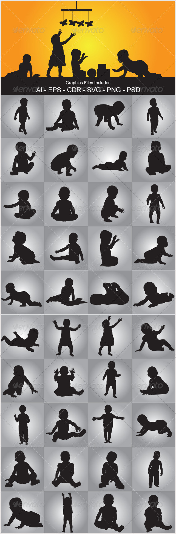 GraphicRiver Baby Silhouettes 5515365