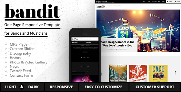 Bandit - One Page Template for Bands and Musicians