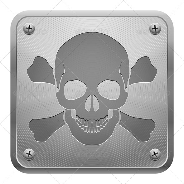 GraphicRiver Metal Tablet with Skull and Crossbones 5517451