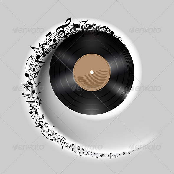 Vinyl Disc with Music Notes