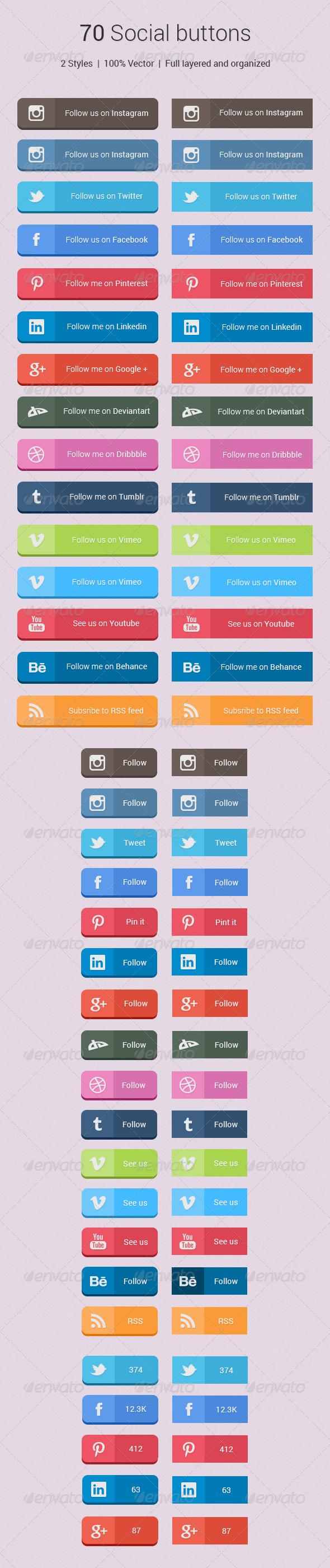 70 Social Buttons - Buttons Web Elements