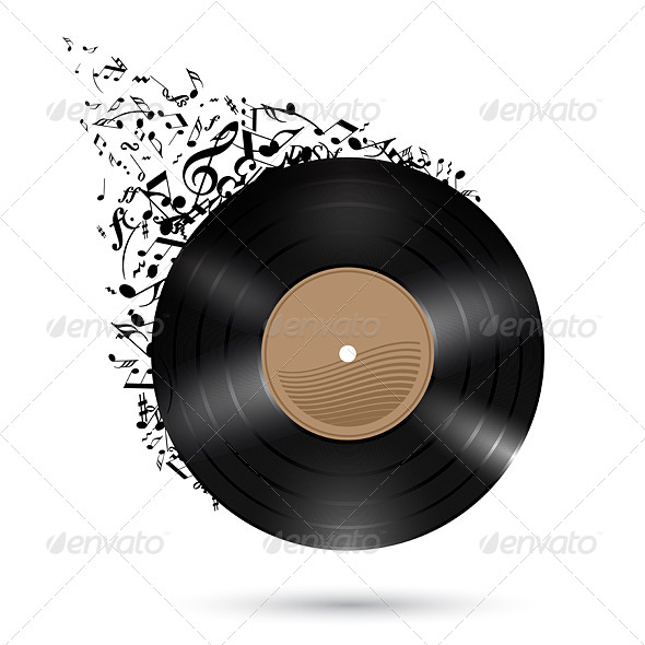 GraphicRiver Vinyl Disc with Music Notes 5517979