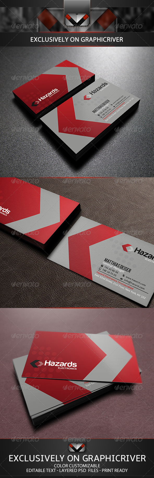 GraphicRiver Red Corporate Business Card 5518012