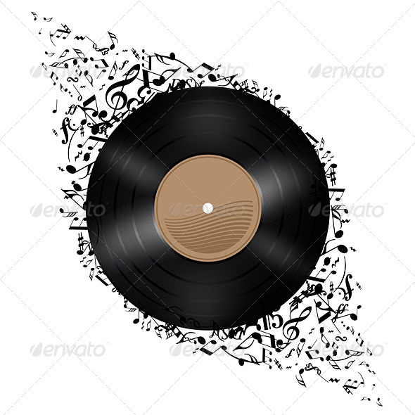 GraphicRiver Vinyl Disc with Music Notes 5518040