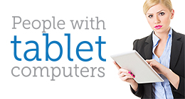 People with tablet computers