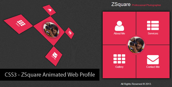 CodeCanyon CSS3 ZSquare Animated Web Profile 5519129
