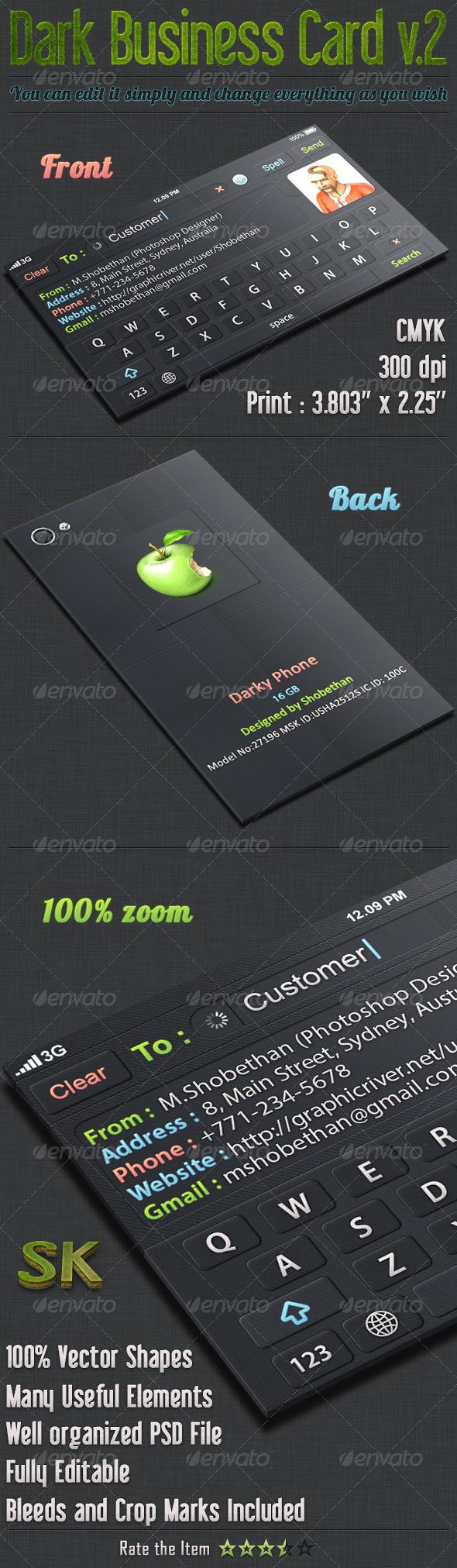 GraphicRiver Dark iOS Business Card v.2 5499353