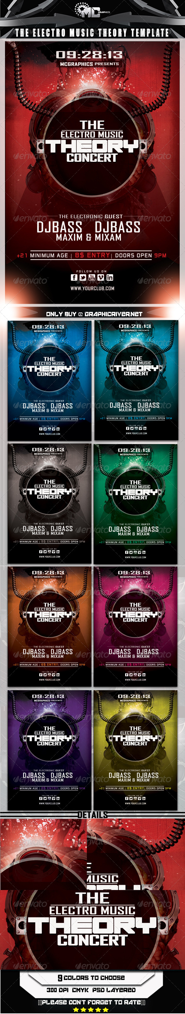 GraphicRiver Electro Music Theory Concert Flyer Template 5519701