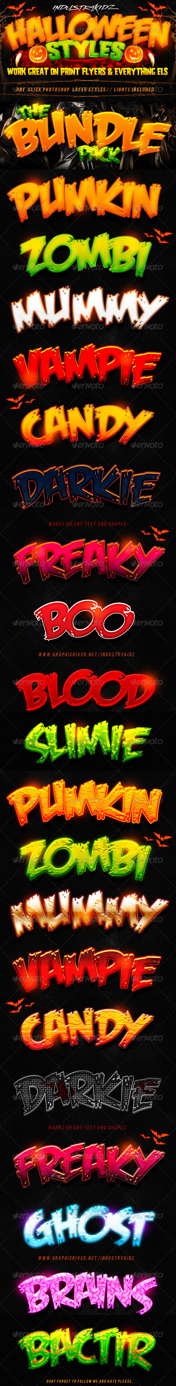 GraphicRiver Halloween Photoshop Layer Styles Bundle 5520627