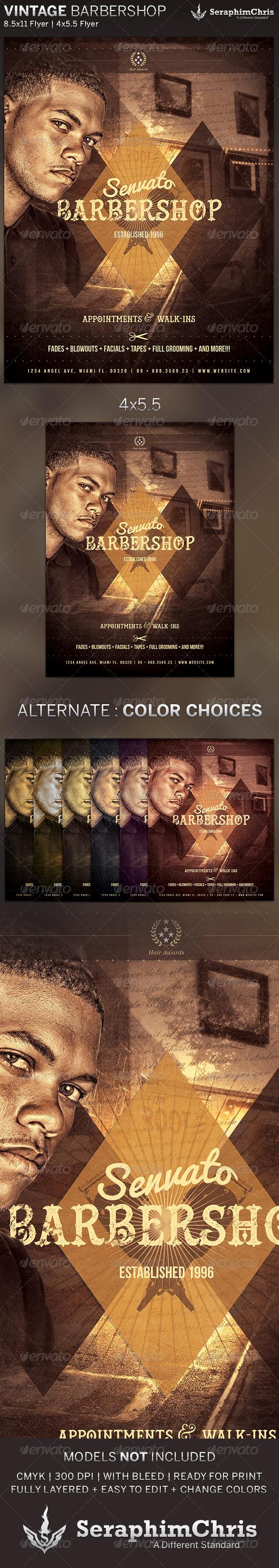 GraphicRiver Vintage Barbershop Flyer Template 5500645