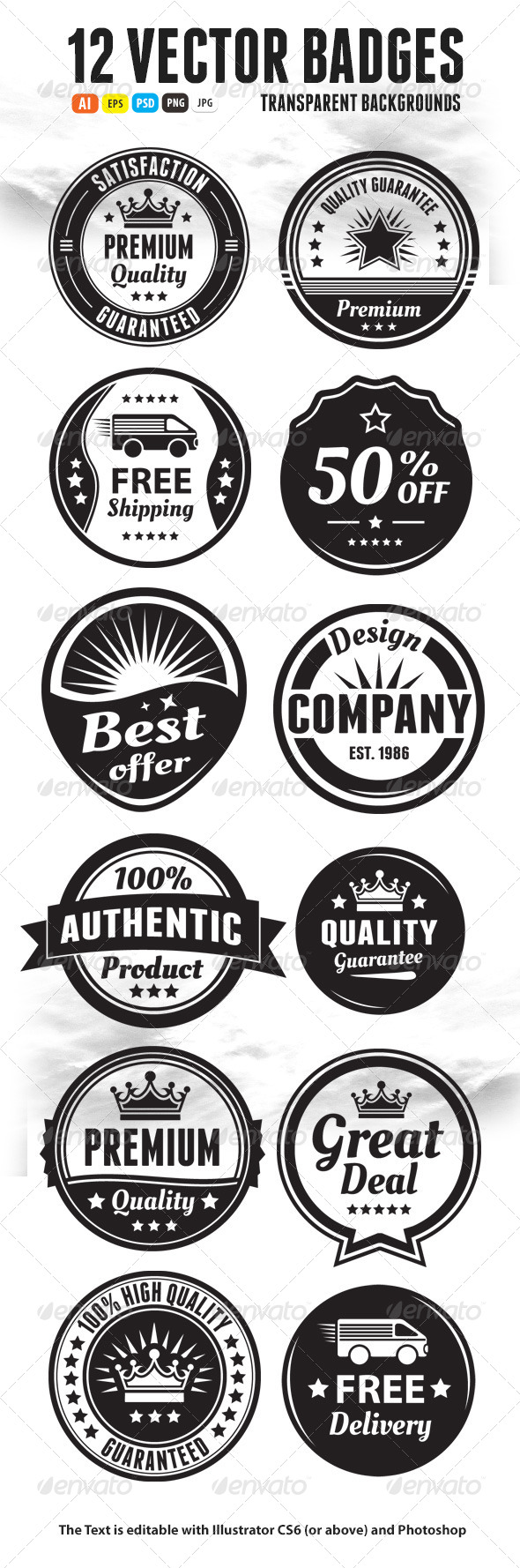 GraphicRiver Twelve Scalable Vintage Badges 5520749
