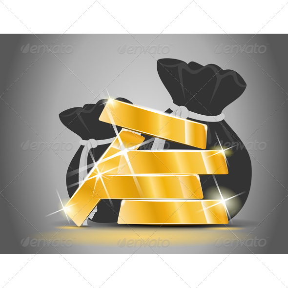 GraphicRiver Gold Bars from a Bag Full of Money 5520819