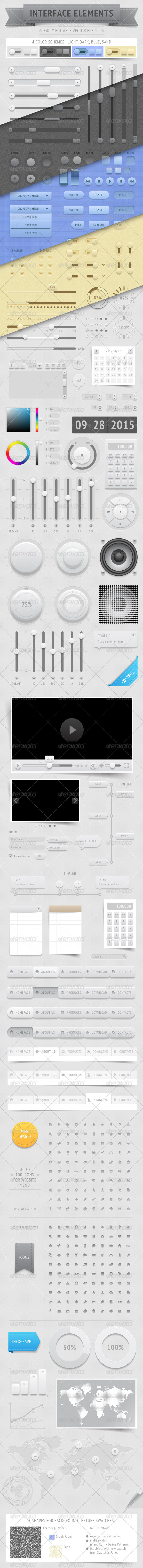 GraphicRiver Vector UI Elements in 4 Color Schemes 5520821