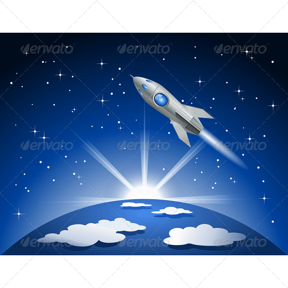 GraphicRiver Rocket Flying into Space 5520824