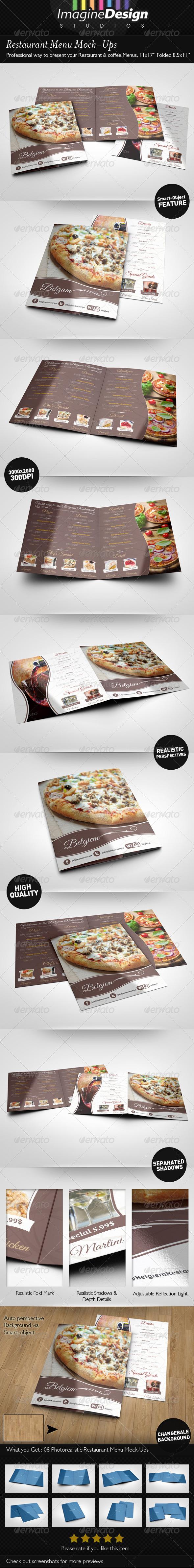 Restaurant Menu Mock-Ups - Print Product Mock-Ups
