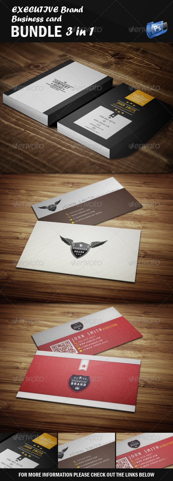 GraphicRiver Executive Business Card Bundle 3 in 1 5520867
