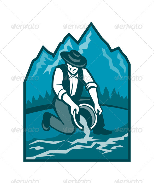 GraphicRiver Gold Prospector Miner Pan Retro 5521016