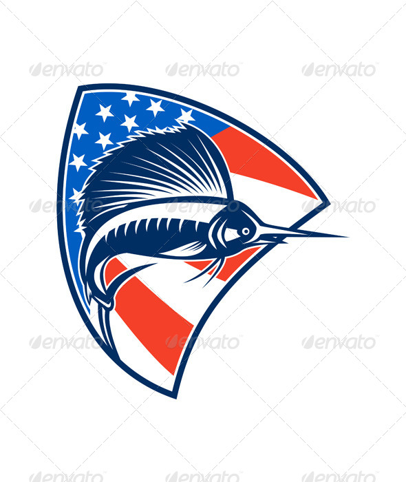 Sailfish Jumping American Flag Shield Retro