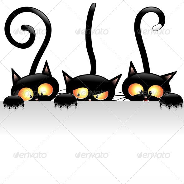 GraphicRiver Black Cats Cartoon with White Panel 5503980