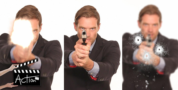 VideoHive Businessman Shooting With Gun 5522025