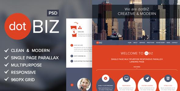 dotBIZ | Multi-Purpose Parallax PSD Landing Page