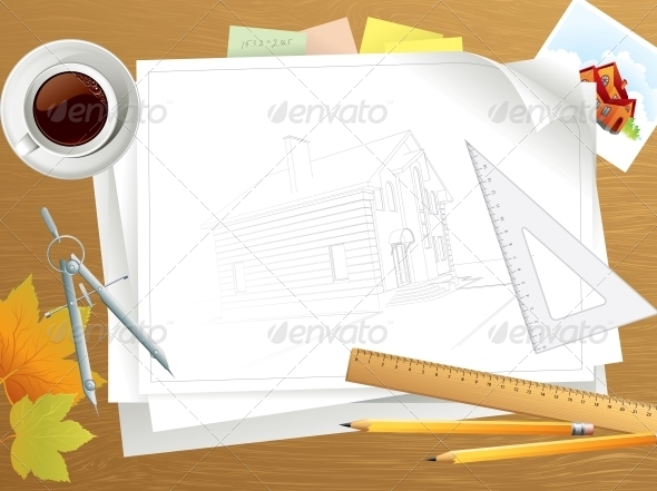 GraphicRiver Tools and Papers with Sketches on the Table 5522332