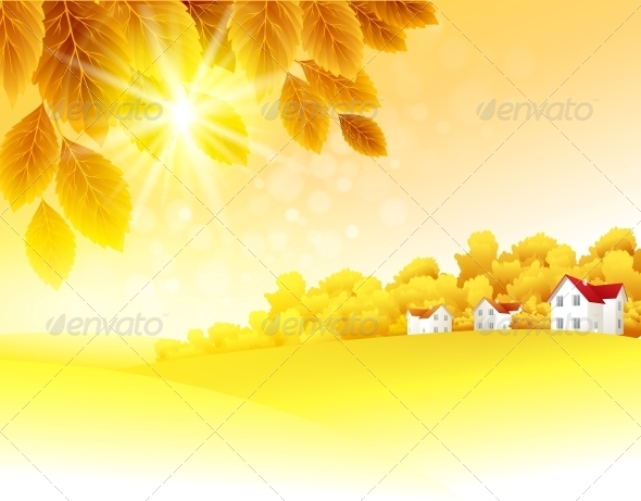 GraphicRiver Autumn Landscape Vector Background 5522379