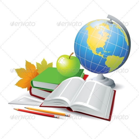 Books and Globe Vector Illustration