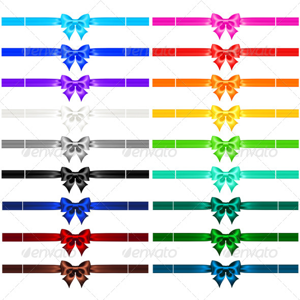 GraphicRiver Collection of Eighteen Bows with Ribbons 5522474