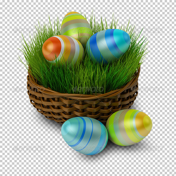 GraphicRiver Easter eggs in a basket with a grass 5522607