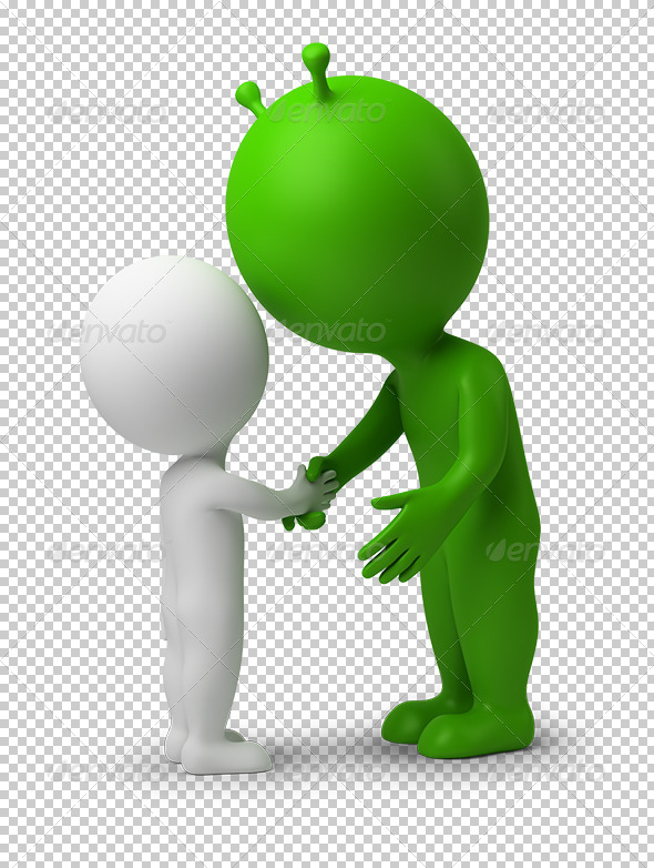 GraphicRiver 3D small people hand shake of the alien 5522631