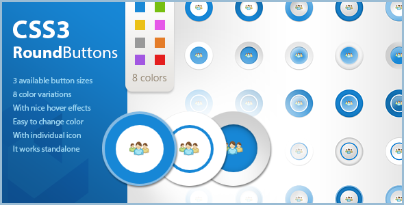 CodeCanyon CSS Icon Round Buttons with Hover Effects 5522708