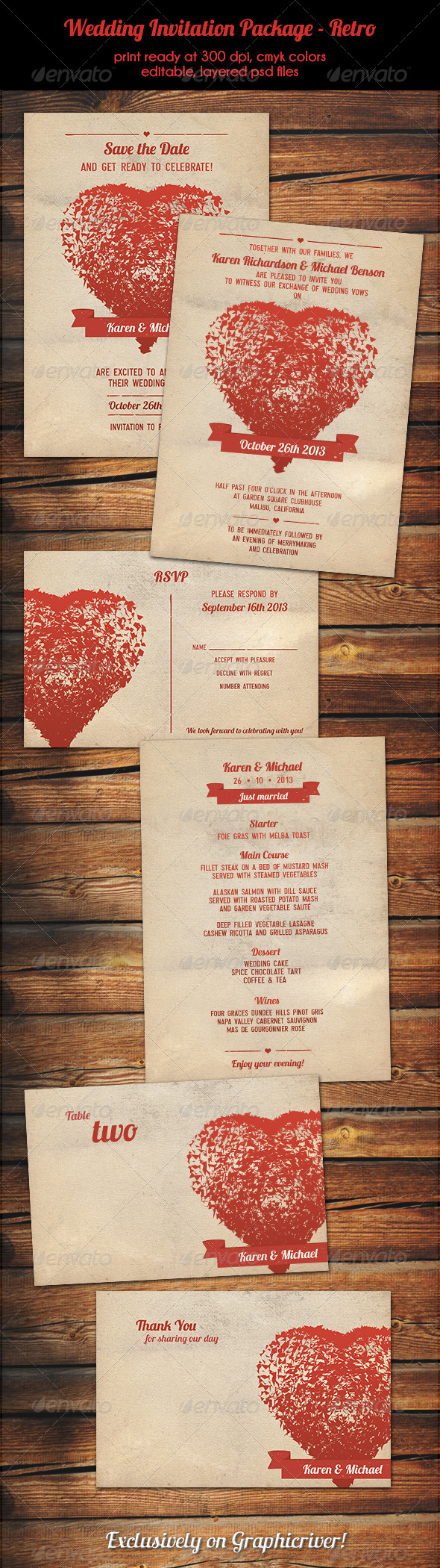 GraphicRiver Wedding Invitation Package Retro 5363043