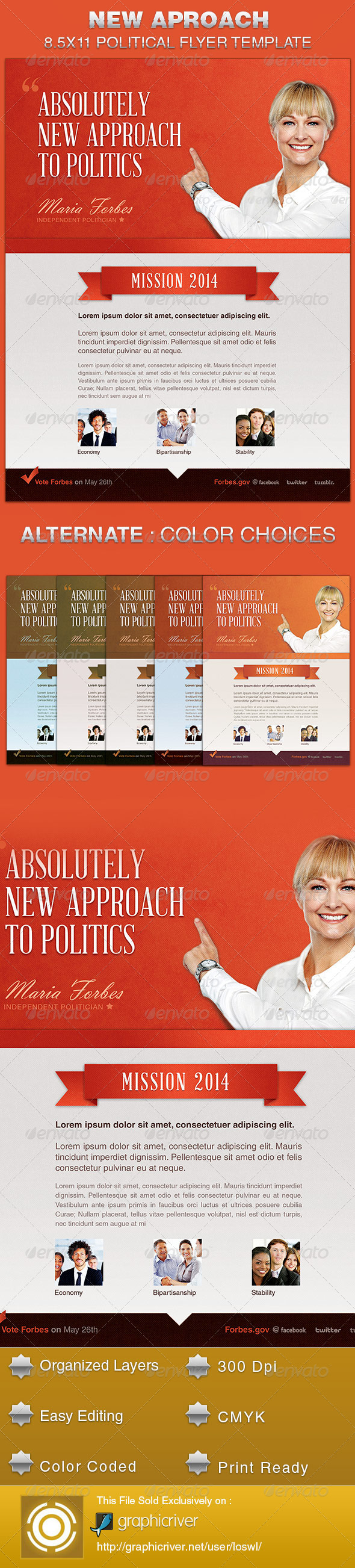 GraphicRiver New Approach Political Flyer Template 5522884