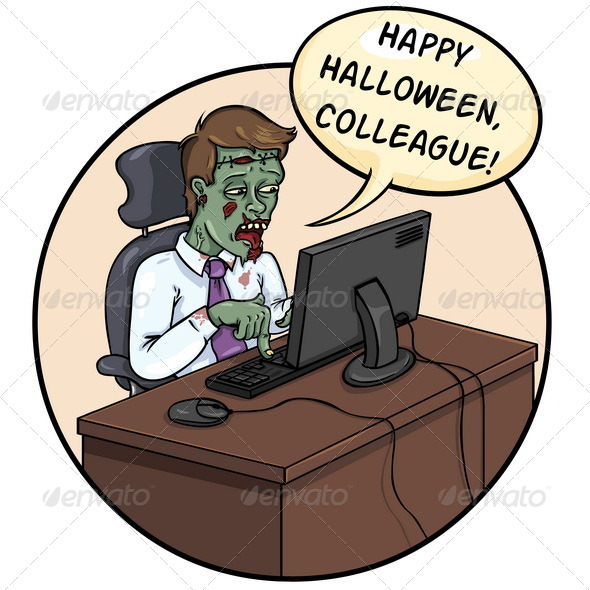 GraphicRiver Halloween Card with Office Zombie 5522902