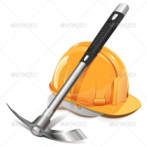 GraphicRiver Vector Pickaxe with Helmet 5522925